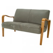 LOVESEAT-GRAY LEATHER-NAT ARMS