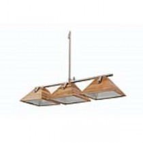 Hanging lamp 3 wood shades/chr