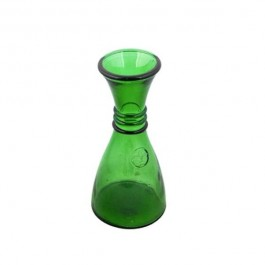 DECANTER-Water/Dark Green Glass W/Fleur De Lis