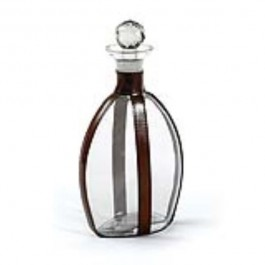 DECANTER-GLASS W/ LEATHER STRA