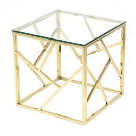 Sq Gold Metal Basket Table