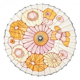 PARASOL-Vintage White W/Pink,Orange,Yellow Flowers & Butterfly