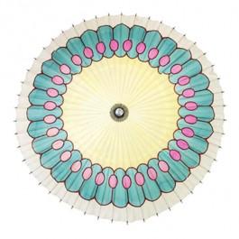 PARASOL-Vintage White, Aqua, W/Pink Spots