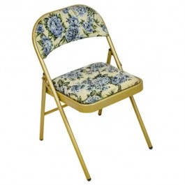 CHAIR-Folding-Blue and Yellow Floral Fabric W/Gold Frame