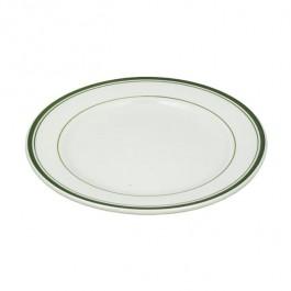 PLATE-Diner Dinner Plate White W/Green Stripes