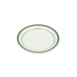 SAUCER-Diner Coffee Cup Saucer White W/Green Stripe