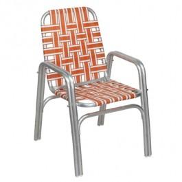BEACH CHAIR-Aluminum Frame W/Orange & White Nylon Webbing