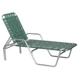 BEACH LOUNGE CHAIR-Aluminum Frame W/Green & Black Nylon Webbing