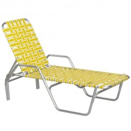 BEACH LOUNGE CHAIR-Aluminum Frame W/Yellow & White Nylon Webbing