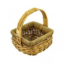 BASKET-Small Square Wicker W/Handle