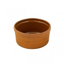 BOWL-Terracotta W/Vertical Ribs & Glazed Interior