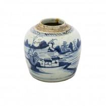 GINGER JAR-Blue & White Village Scene