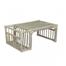 BED TRAY-Distressed White Bamboo & Wicker W/Cup holder & News Paper Rack