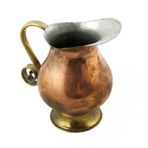 PITCHER-COPPER W/BRASS HANDLE
