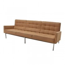 SOFA-Tan Wool-Tufted W/Metal Frame