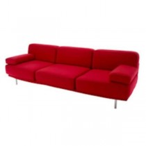 SOFA-99IN-RED WOOL STEEL LEGS