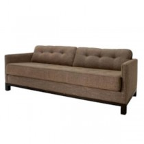 SOFA-BROWN LINEN-TUFTED SEAT &