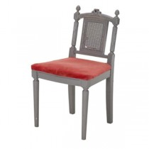 CHAIR-Vanity-French-Gray Frame & Red Velvet Seat
