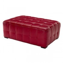 OTTOMAN-30X44-RED TUFTED LEATH