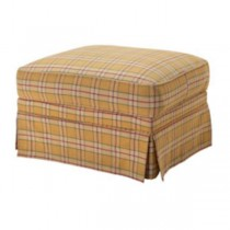 OTTOMAN-YELLOW PLAID