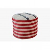 Recycled Canvas Ottoman Red/Bl