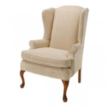 CHAIR-WING-IVORY DAMASK