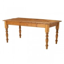 FARM TABLE-Natural Pine W/Turned Leg