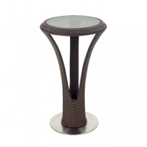 TABLE-BAR-BROWN WICKER-RND GLA