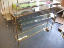TABLE-CONSOLE-GOLD BASE-GLASS