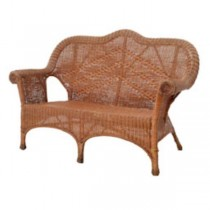 SOFA-BROWN WICKER-FLORAL C