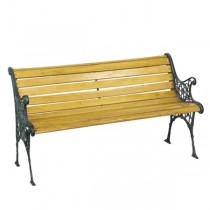 Bench-Park W/Iron Scroll Frame & Blonde Colored Wood
