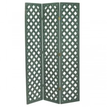 SCREEN-3PANEL-DK GREEN LATTICE