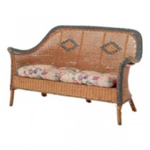 LOVESEAT-WICKER-DARK NAT W/BLU