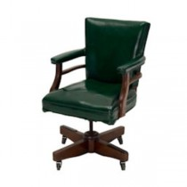CHAIR-OFFICE GREEN LEATHER SWI