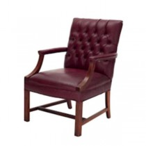 OFFICE CHAIR-Burgundy Leather Tufted Arm W/Stationary Wood Frame