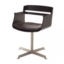 CHAIR-OFFICE-BROWN WOOD-TUB SH