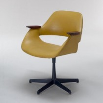 CHAIR-Swivel/Mustard Vinyl/Wood Accents