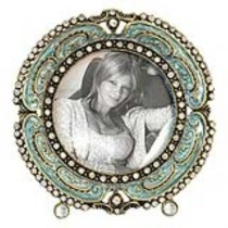 Small round enamel frame w/bli