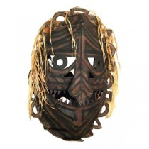 MASK-Large African Hanging W/Orange Hair & Sharp Teeth