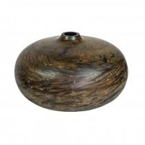 VASE-Round Wood-Squatty W/Small Opening
