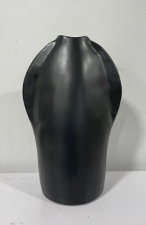 """VASE-8""""-CER-CHARCOAL-PINCH TOP"""