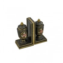 BOOKEND-Urns W/Black Crackle Finish & Gold Accents