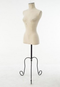 DRESS FORM-Woman Canvas on Black Wire Scroll Base