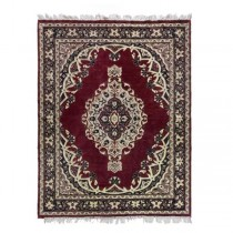 RUG-5X8-Red & Blue Oriental W/Center Medallion