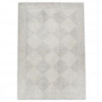 RUG-(5'x 8')Cream & Grey Diamond W/Greek Key Border