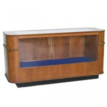 DISPLAY CASE-Vintage Curved Oak W/Glass Top & Front