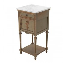 NIGHTSTAND-White Marble Top/Drawer,Cabinet, & Under Shelf