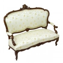 SETTEE-FRENCH-IVORY FLORAL