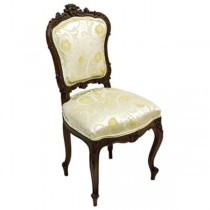 CHAIR-Victorian Side W/Floral Damask Upholstry