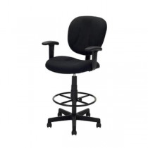OFFICE STOOL-Drafting/Black Frame & Black Fabric W/Foot Rest Ring